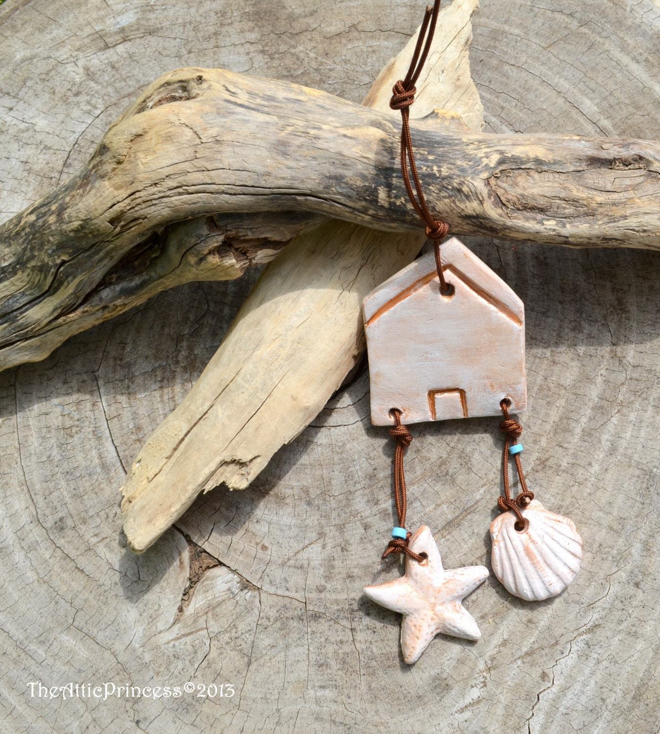 Shabby chic beach house hanging ornament, spring summer home decoration