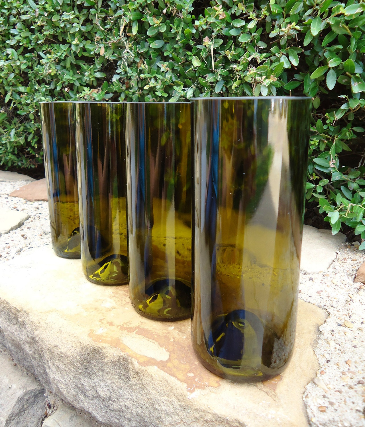 Wine Bottle Glasses Tall & Straight in Olive 20 oz  Set of 4