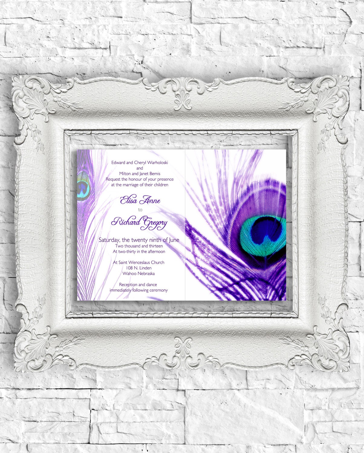 PEACOCK Printable WEDDING INVITATION By DesignedWithAmore On Etsy