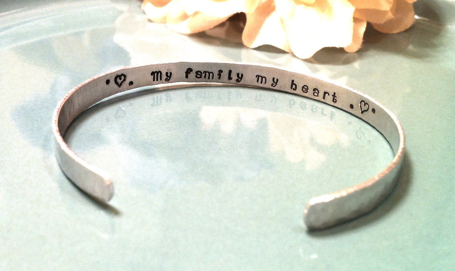 Hand Stamped Cuff Bracelet - Personalized Jewelry - Thin, Custom Mommy or Friendship Cuff with Secret Message