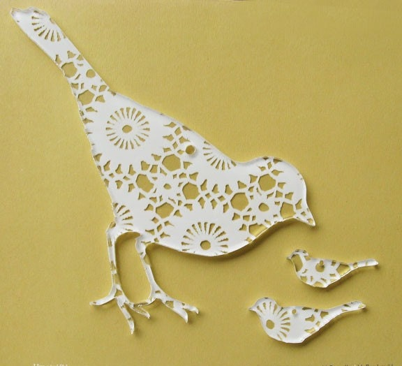 Acrylic plexi DOILY lace print silhouette ORNAMENT PENDANT set of 3 BIRDS