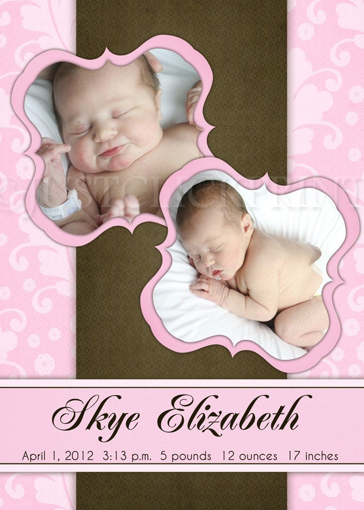 Sweet Dreams Pink Brown Damask Multi Photo Birth Announcement Any Color - Printable UPRINT