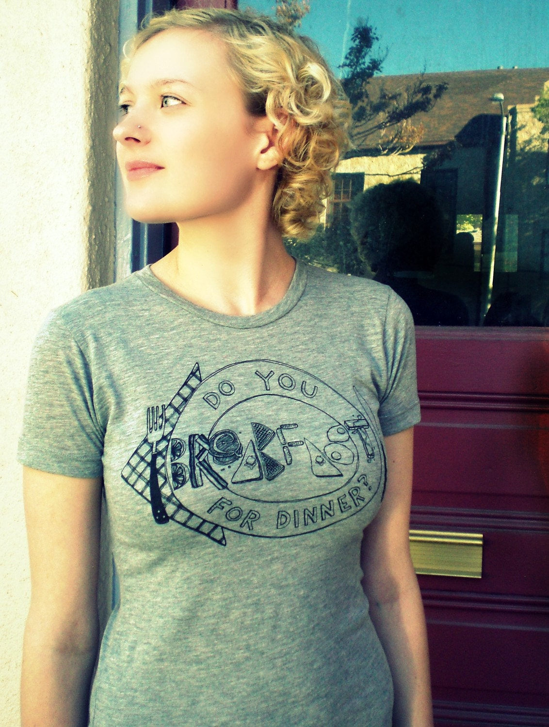 WHILE SUPPLIES LAST SALE -DO YOU BREAKFAST FOR DINNER- T-SHIRT/TEE WOMENS S.M. L. XL