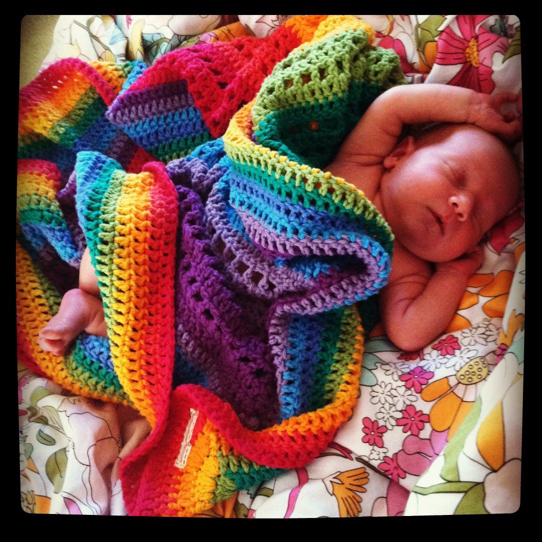 Rainbow 100 Cotton Crocheted Blanket By Peacelovecreations