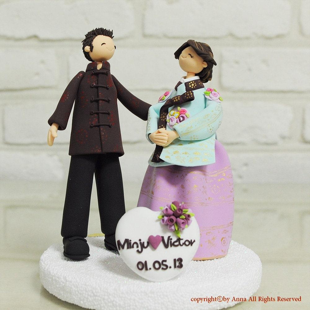 Items similar to Chinese Korean couple custom wedding cake topper gift ...