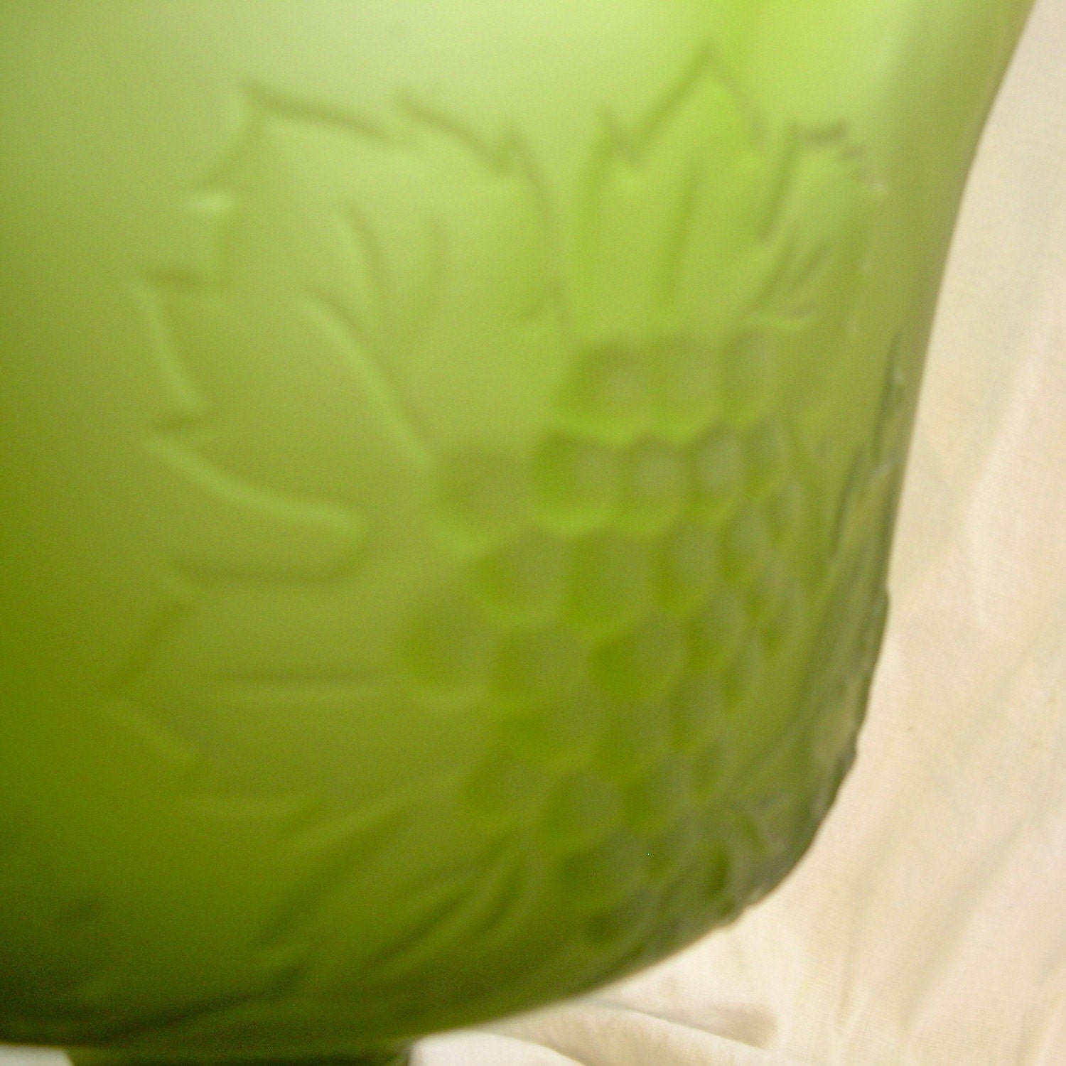 Vintage, 1960s, Frosted Green Glass Grape Vine Vase