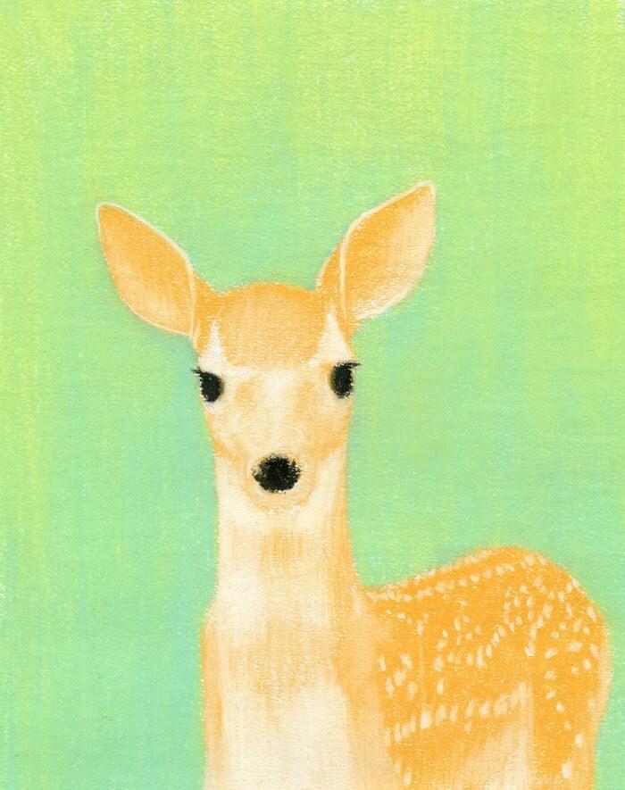 Deer Fawn Morning Glory - 8x10 Print - Deer Art