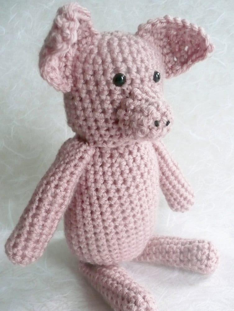 "Pink crochet pig - 10"" tall - baby soft yarn -  READY TO SHIP"