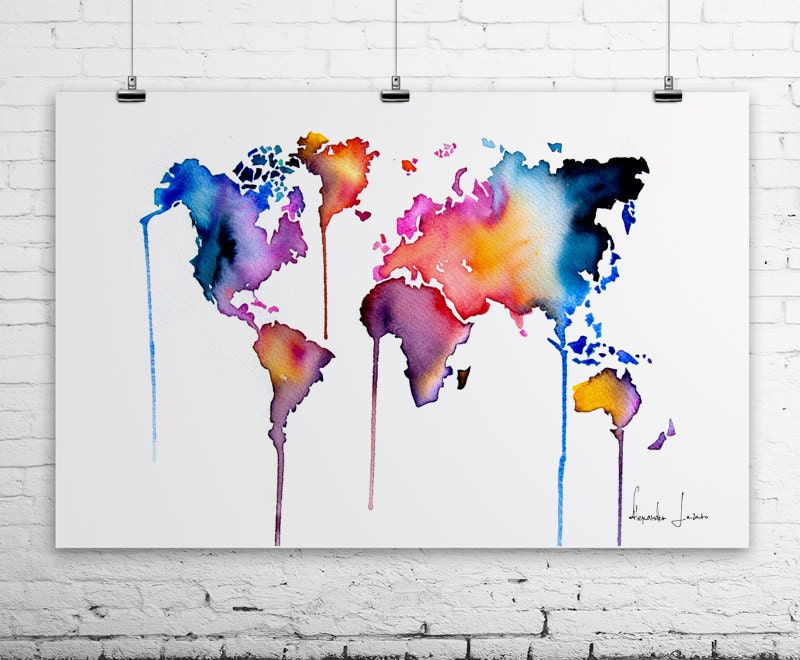 World Map Art Print Colorful Watercolor