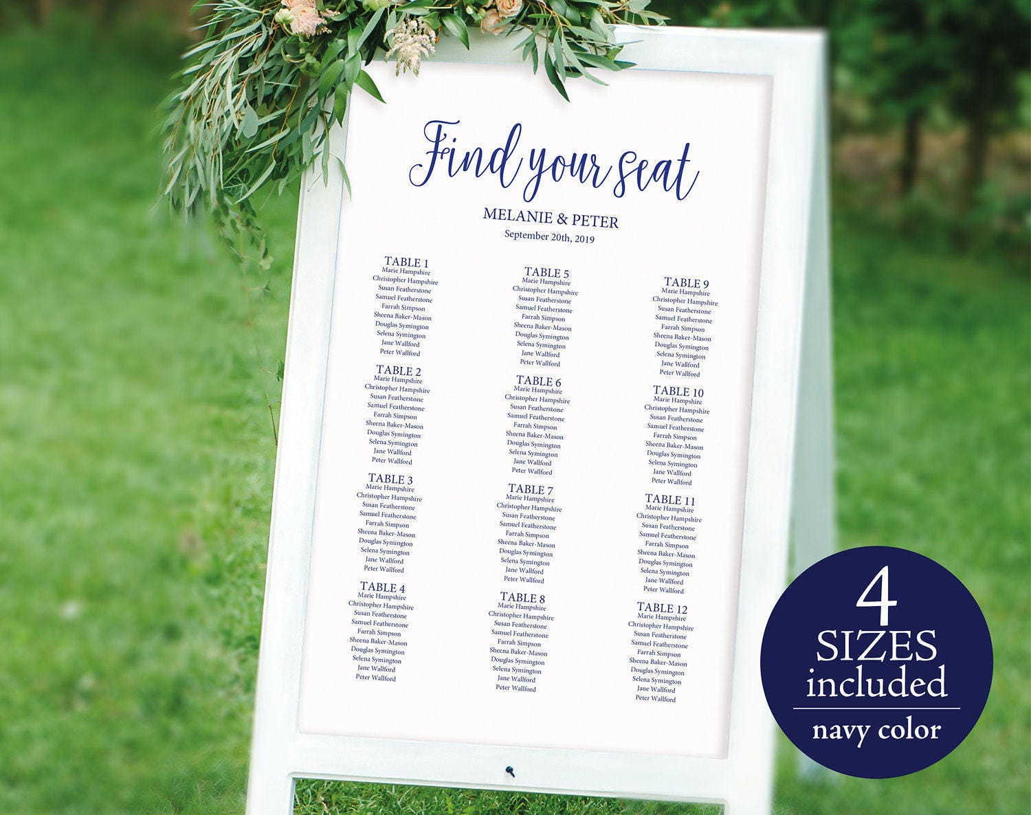 Wedding Seating Chart Printable Seating Chart Seating Chart Template Seating Plan Table Plan PDF Instant Download M022