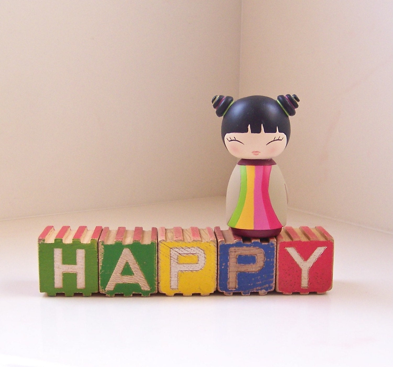 vintage wooden letter blocks - happy