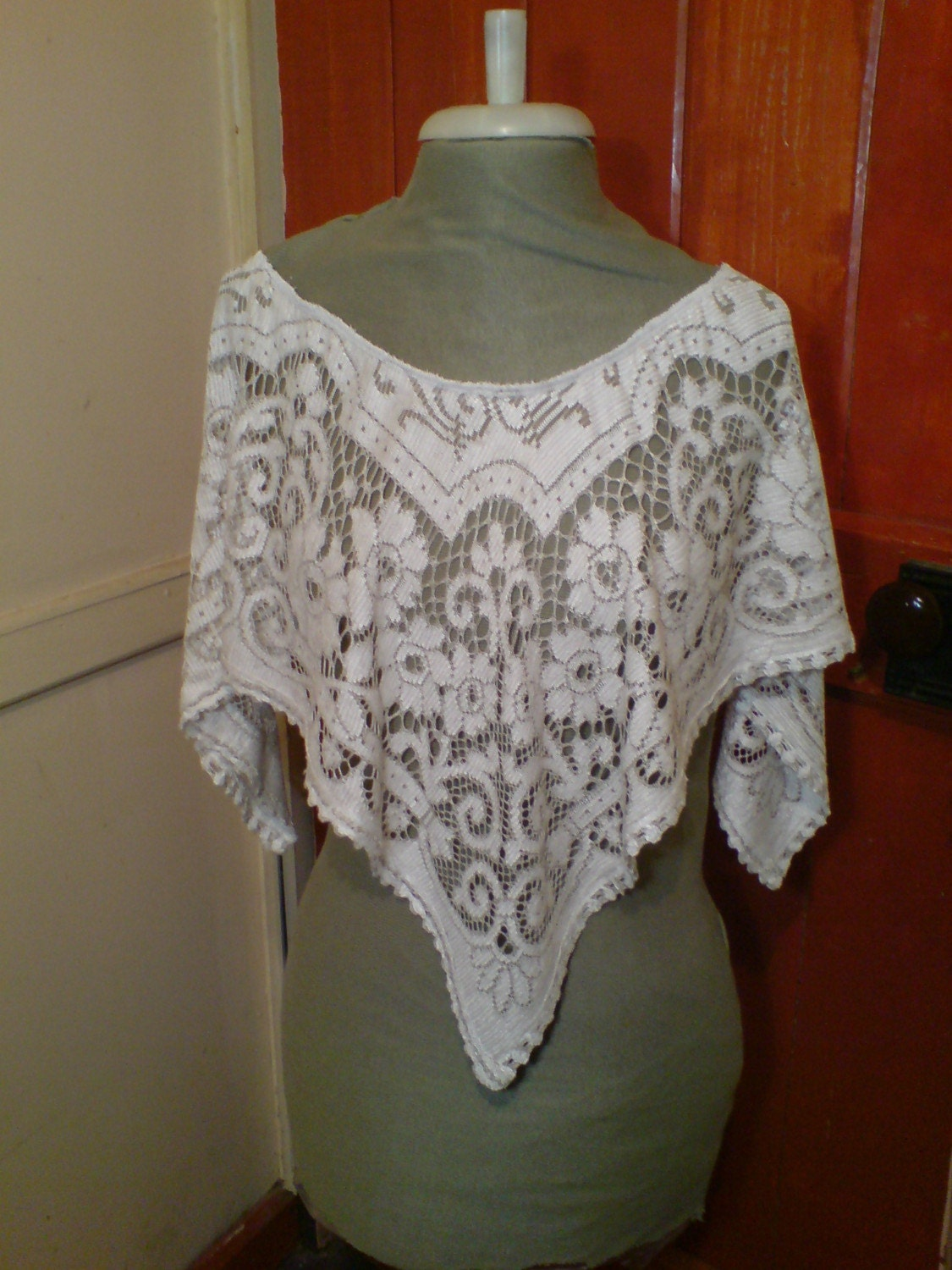 Small Lace Capelet Free Size upcycled  tablecloth Victoriana