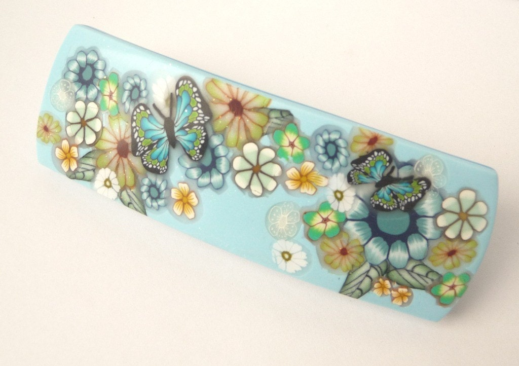 Polymer Clay Flowers  and Butterfly Hair Barrette