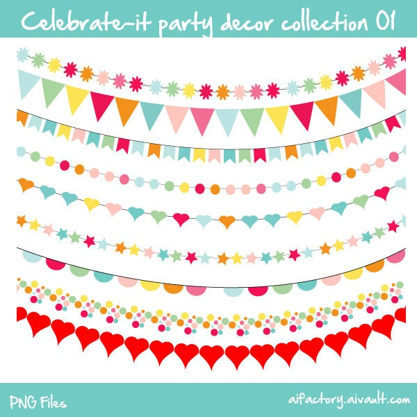 buntings celebrate-it decor collection 01 -  Commercial use and personal use clipart - confetti colors