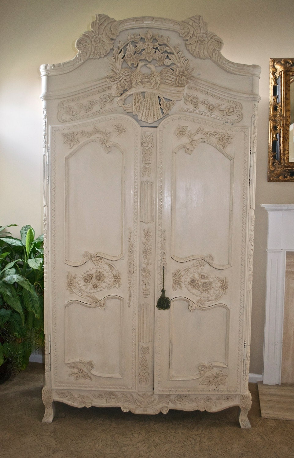antique shabby chic french armoire by theyardleycottage. Black Bedroom Furniture Sets. Home Design Ideas