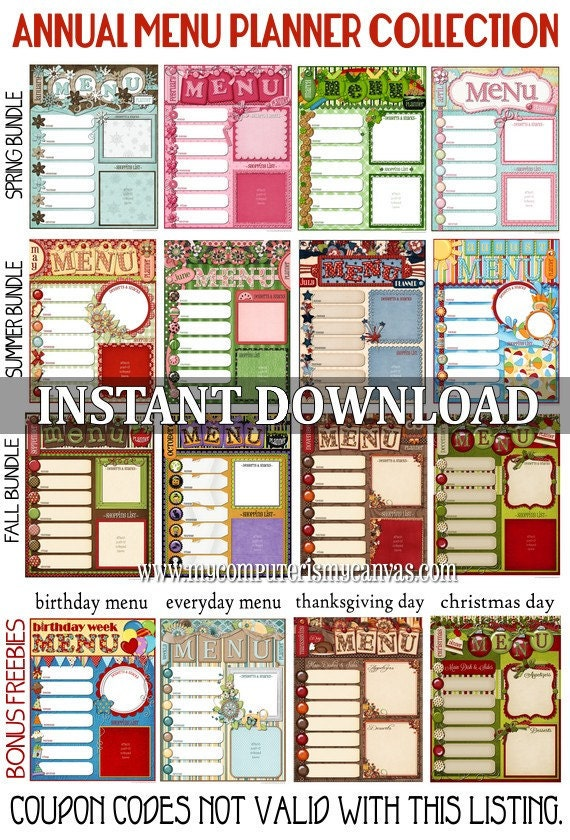 17 Menu Template and Meal Planning Charts - Kitchen Display Board ...