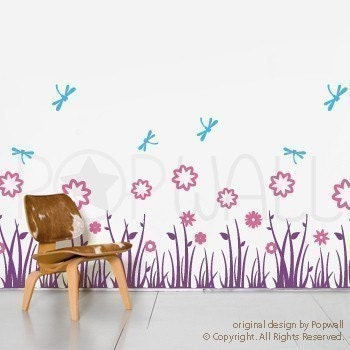 NEW DESIGN Grass Land with Flowers and Dragonflies - 077