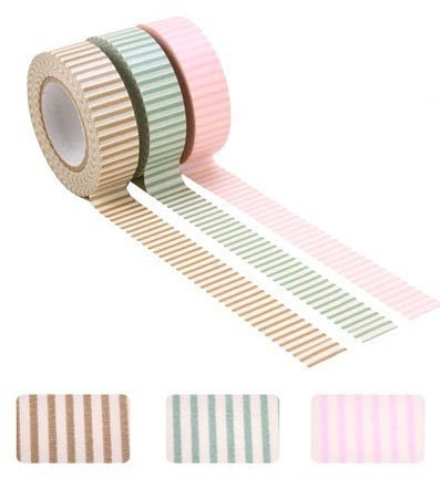 Colored Paper Masking Tape Stripe Set Lot of 3
