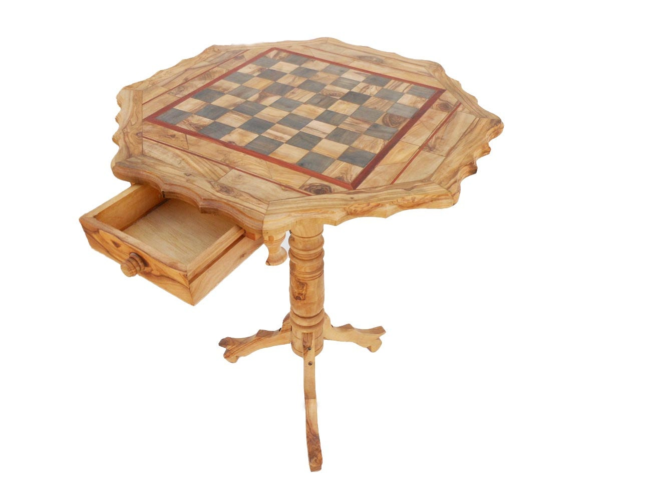 Olive wood chess table wooden rustic exotic by tunisiahandmade - Wooden chess tables ...