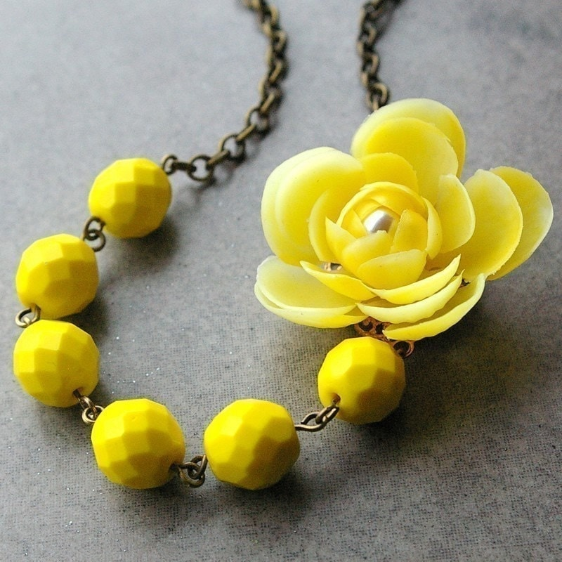 Lemon Zest, Vintage Yellow Flower and Crystal Necklace (HALF PRICE SALE)