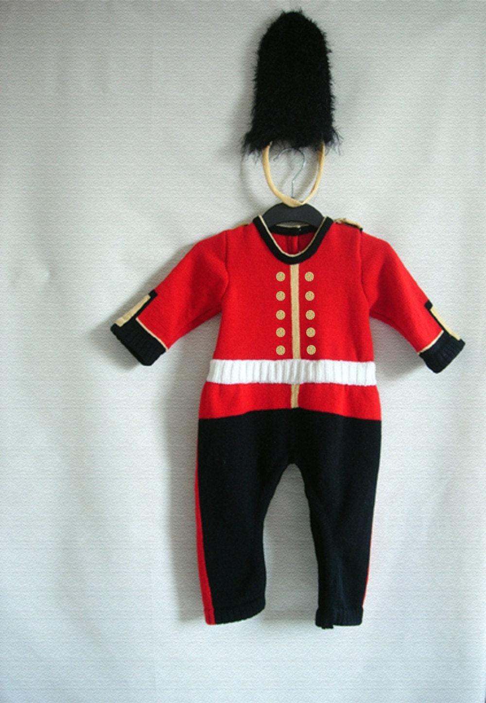 Handmade Knitted Royal Guard Babygrow