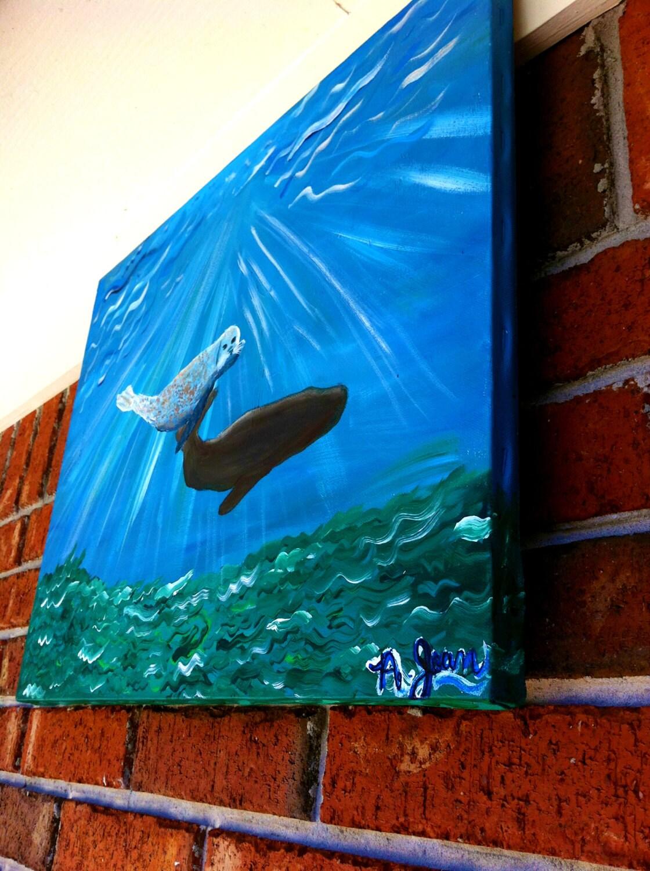 Seal Painting, Whale Painting, Nursery Art, Original Painting, Oceanic Painting, Underwater Painting, Acrylic Painting - AubreyJoanArt