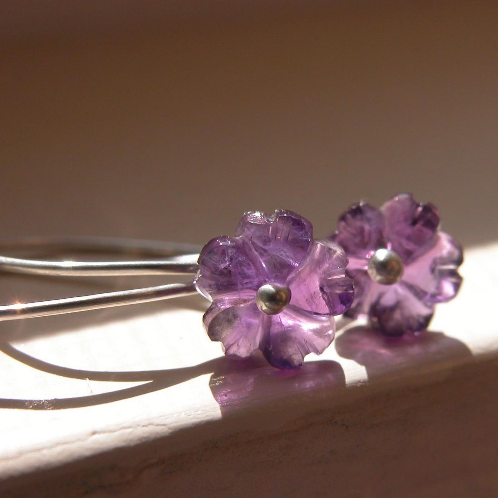 Hand carved amethyst flowers and sterling silver by cserpent