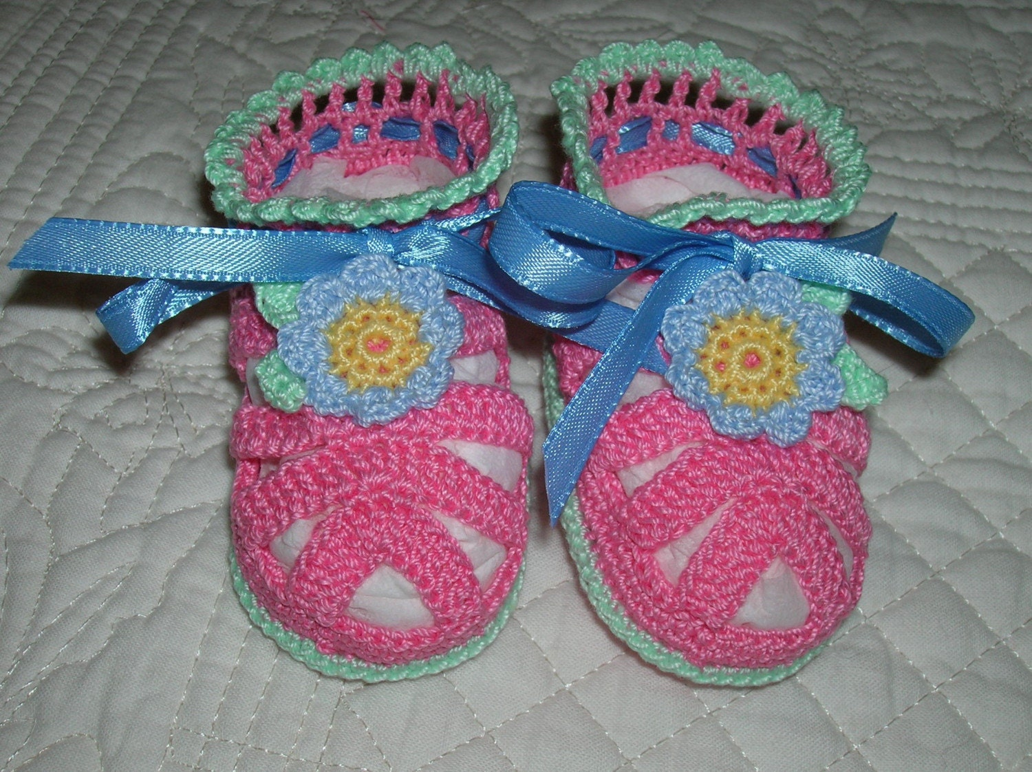 Pink Crocheted Baby Sandals