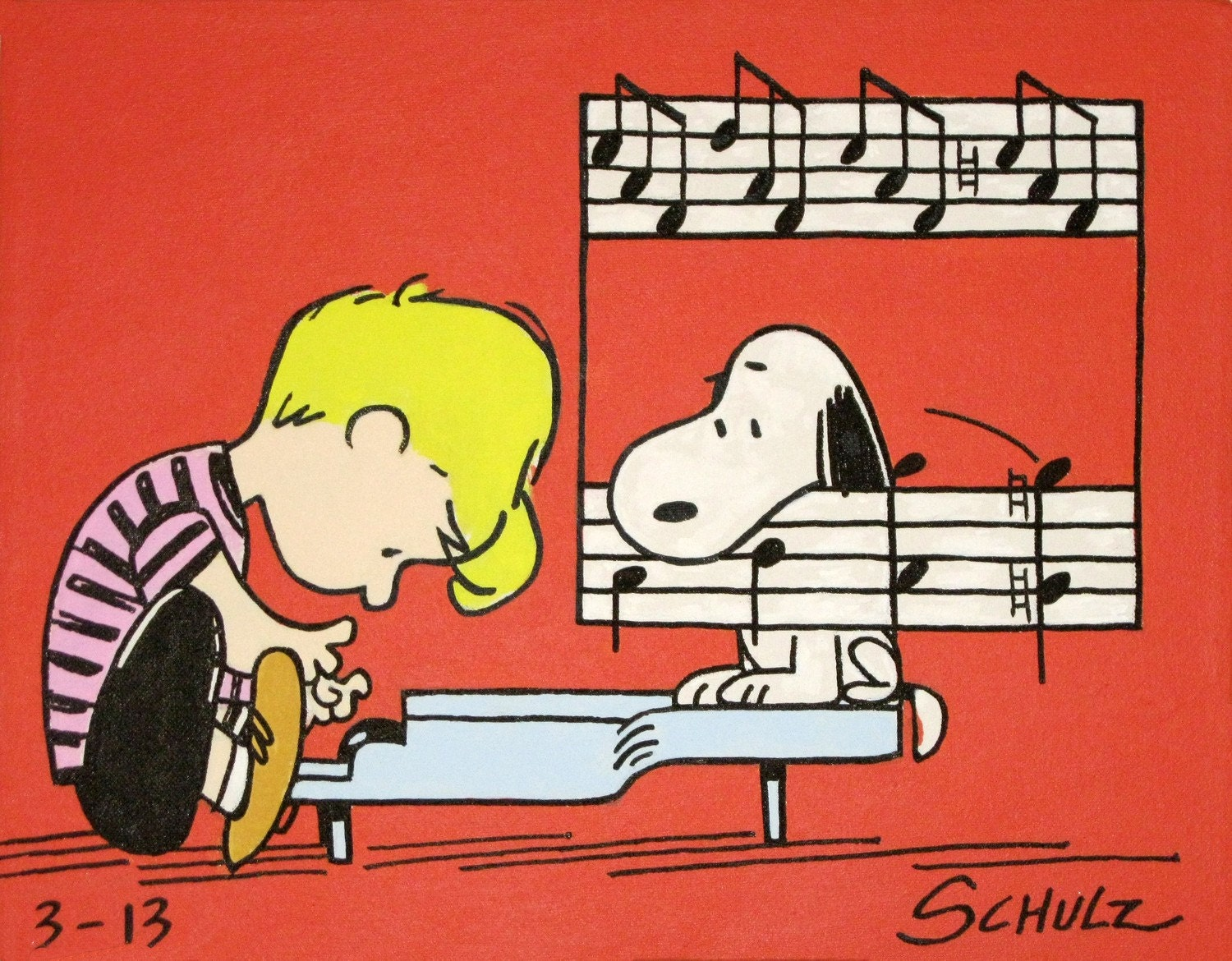schroeder & snoopy peanuts comic painting from the 60s - waltyablonsky