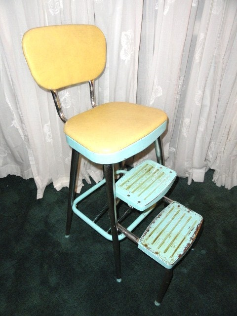 Vintage Utility Step Stool Aqua Yellow Metal By
