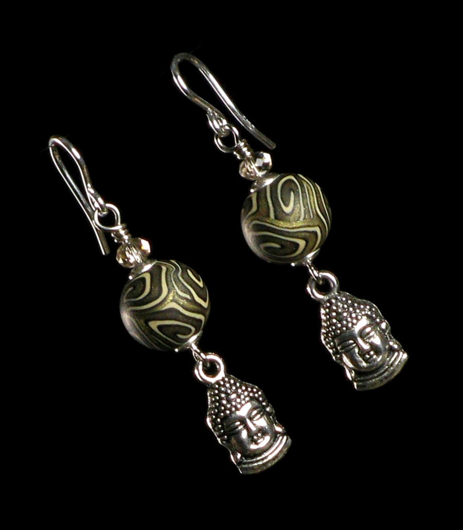 buddha dangle earrings spiritual jewelry by mindfulmatters