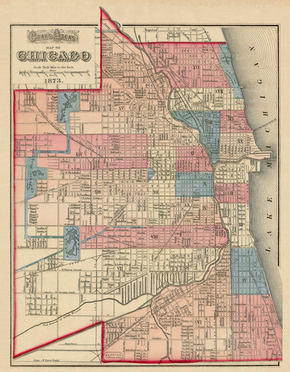 Chicago Map Vintage Map Of Chicago 16 X 205 By AncientShades