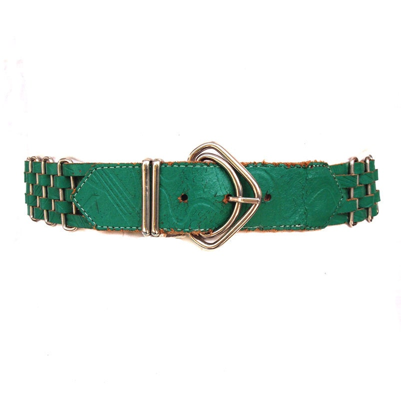 Green with Envy, French Vintage, Emerald Green Leather Waist Belt, from Paris - dandeliondaydreamer