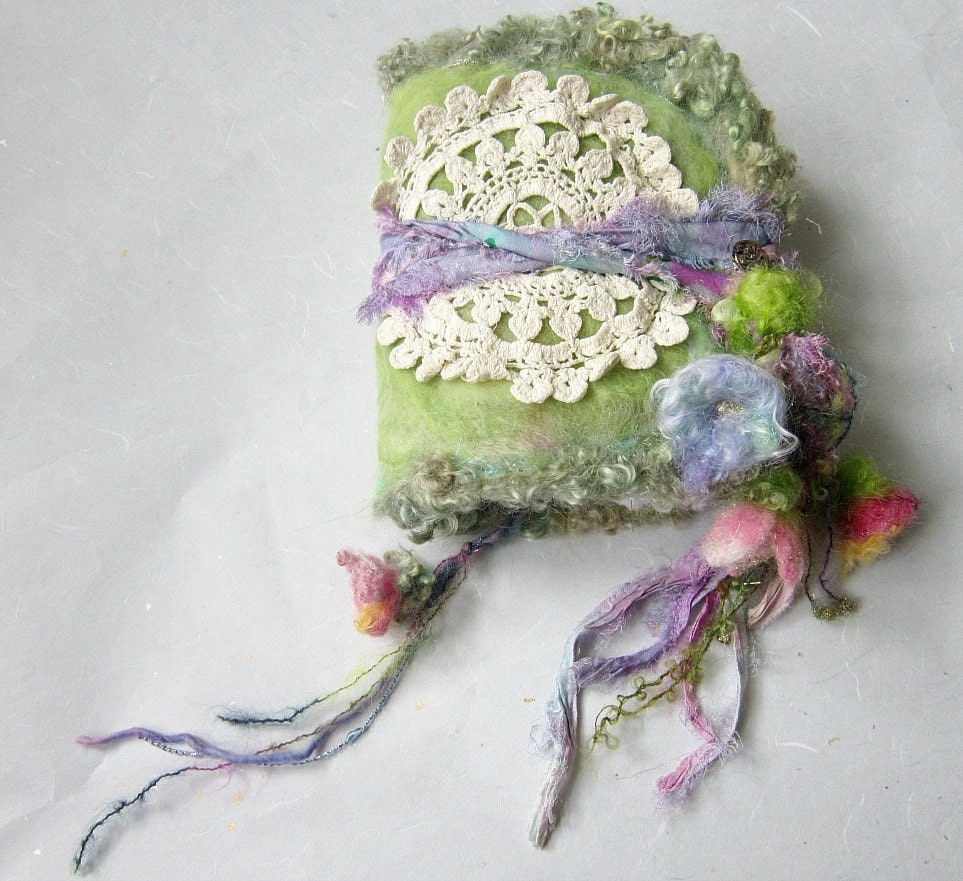 felted wool journal art book  - enchanted forest art diary - faerie poem to the flowers and light - beautifulplace