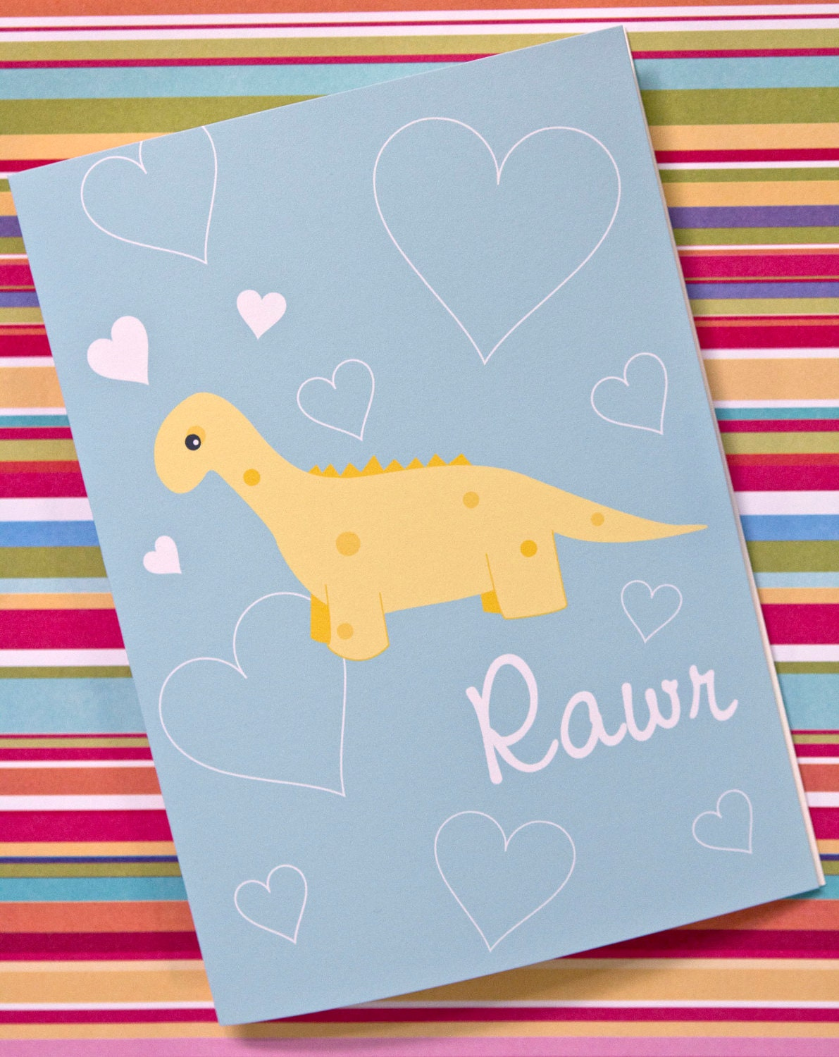 Yellow Dinosaur Rawr Greeting Card - ktcrawford