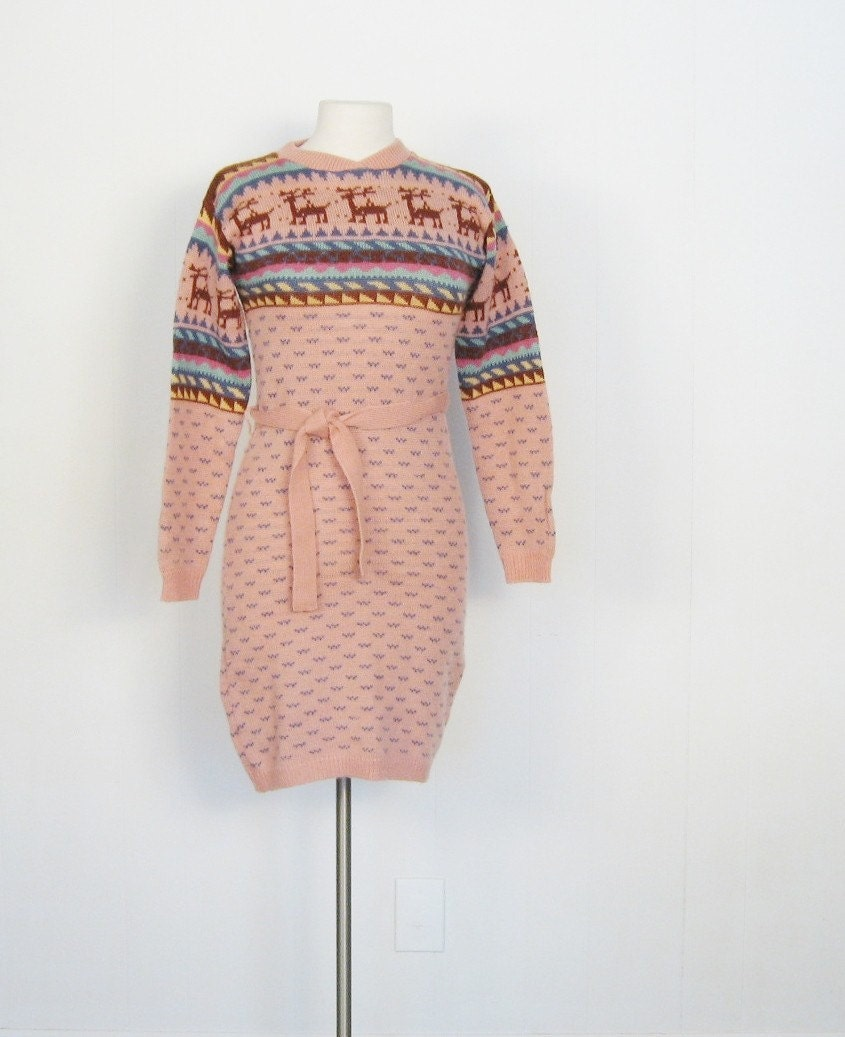 Vintage 1980s LAPLAND Reindeer Sweater Dress XS