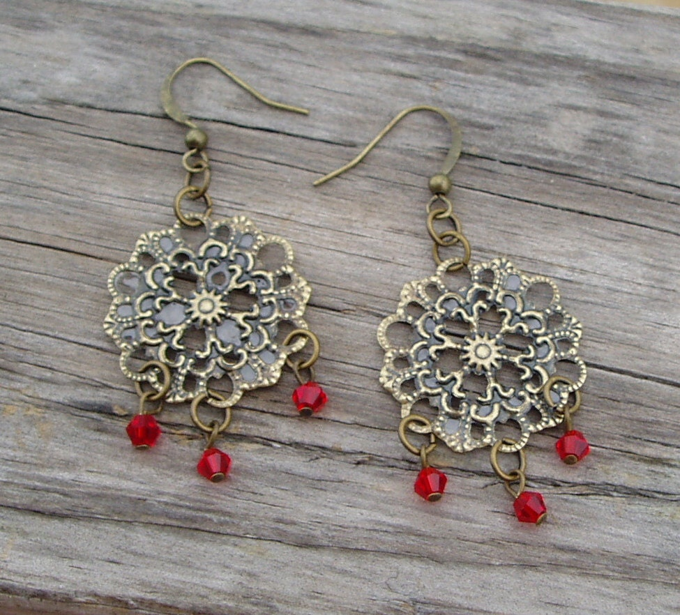 Red Chandelier Filigree Earrings - Ruby Red Crystal Dangling  From Brass Filigree Dangle Earrings - ChathamsCrossing