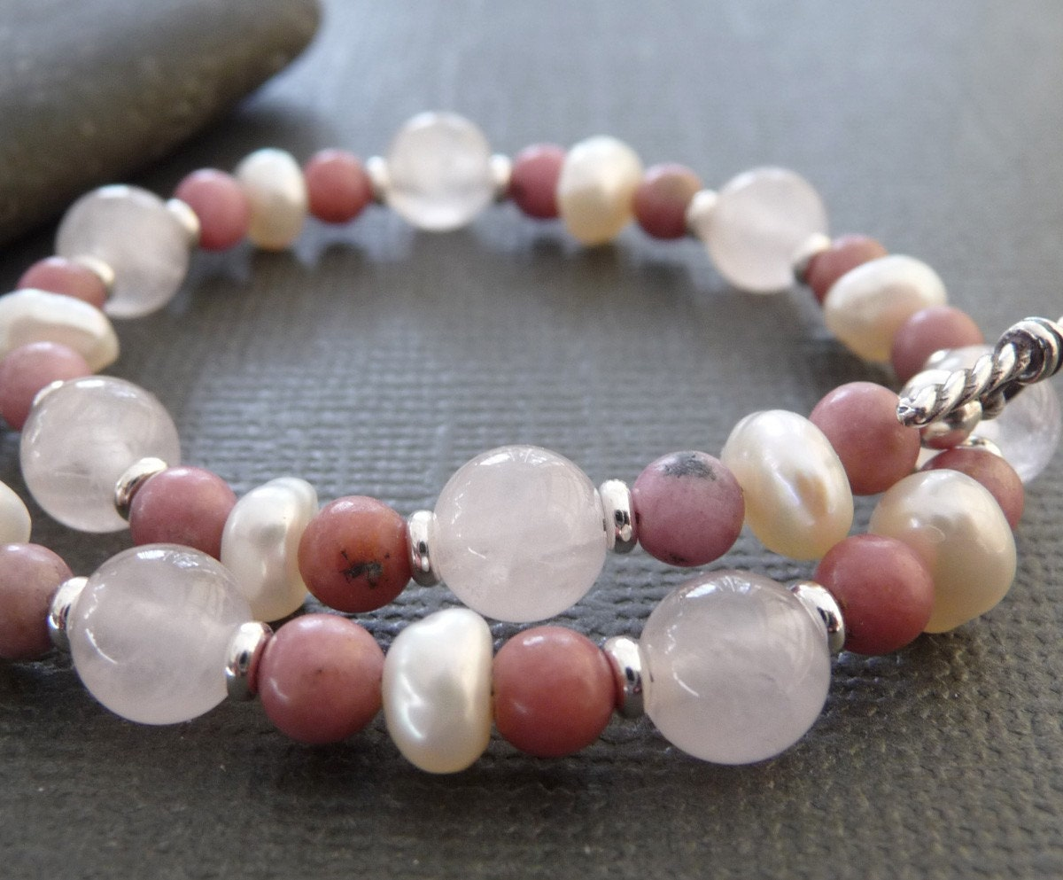 Dusty Rose Sterling Silver Bracelet