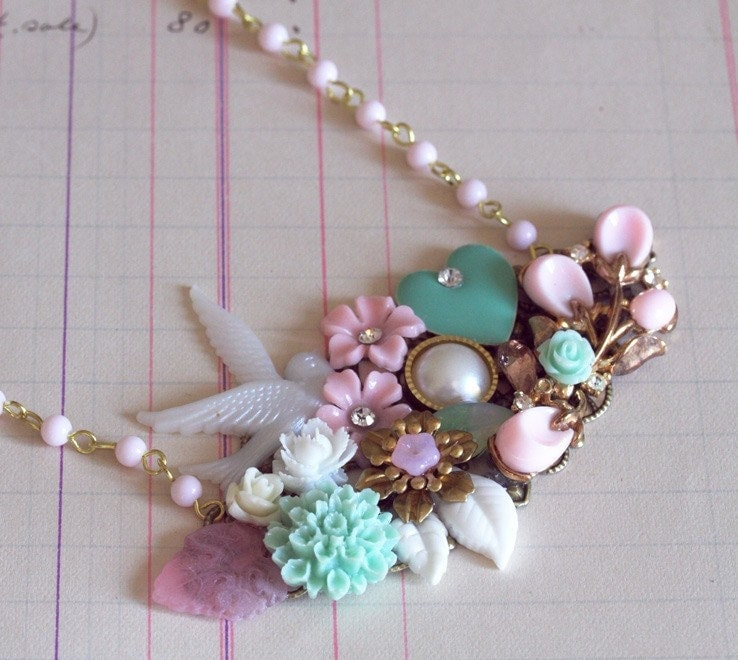 Pink Melody Vintage Collage Necklace