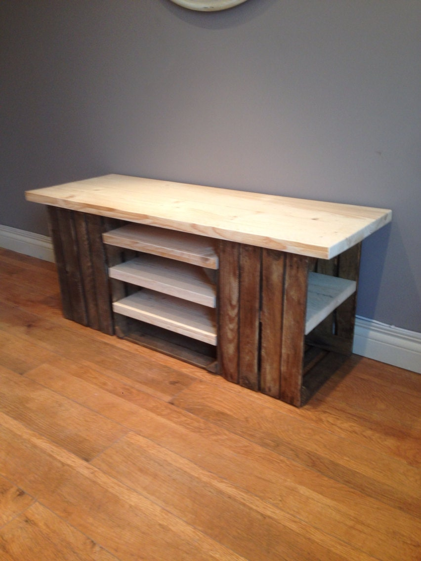 Handmade crate tv storage unit with scaffold board shelving  Side table with storage