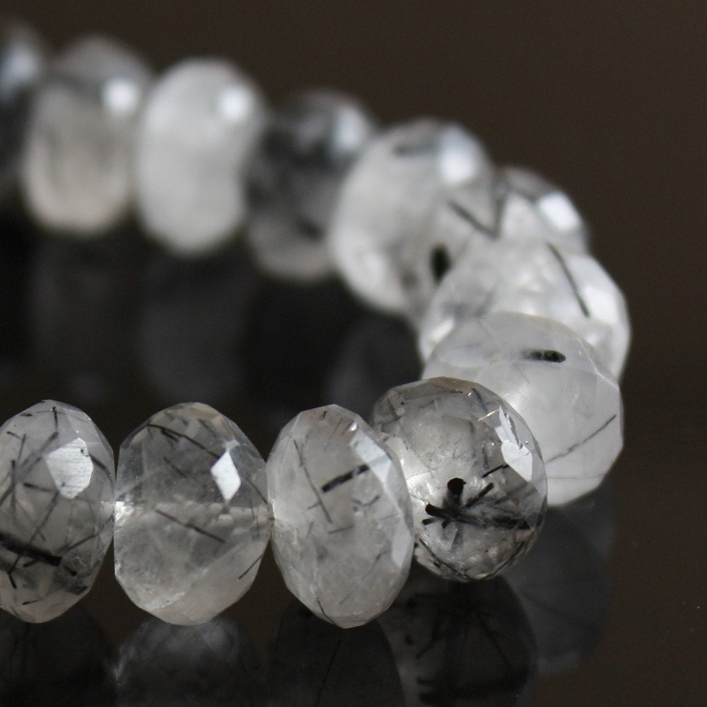Tourmalinated Quartz 8mm faceted rondelles 4 inch strand
