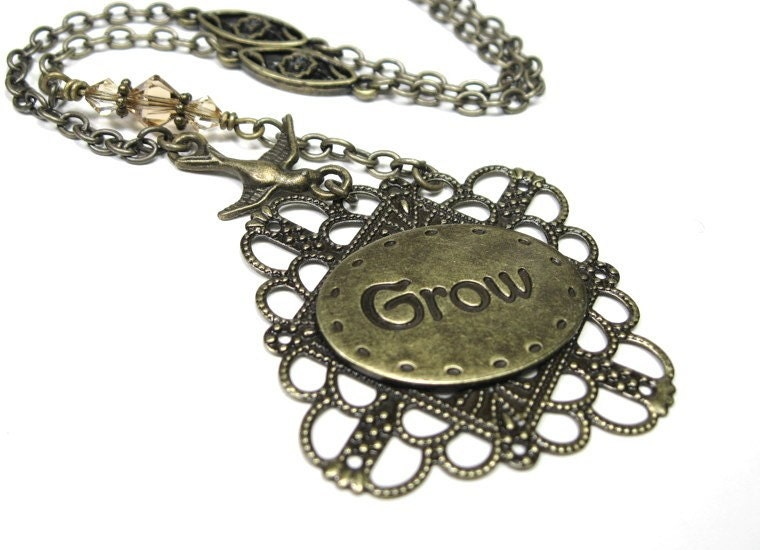 Antiqued Brass Vintage Style Pendant Necklace