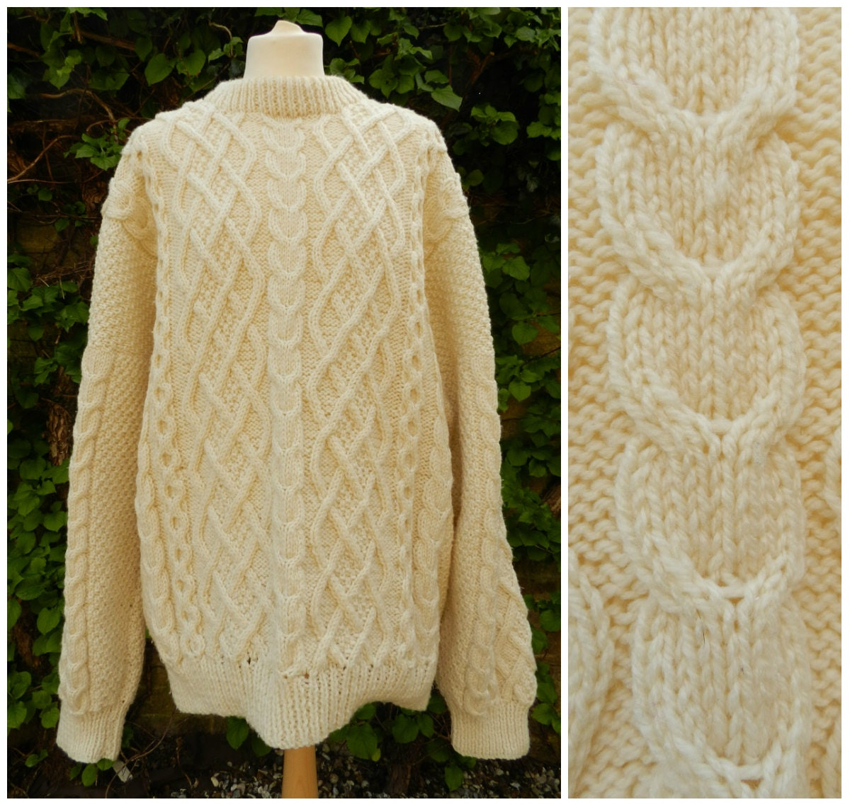 70s 80s cream chunky oversized acrylic HAND knitted crew neck cable knit fishermans sweater jumper L  XL  XXL