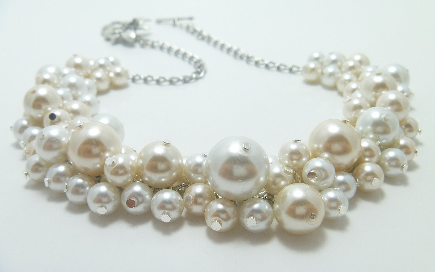ivory and white cluster necklace pearl necklace bridal by