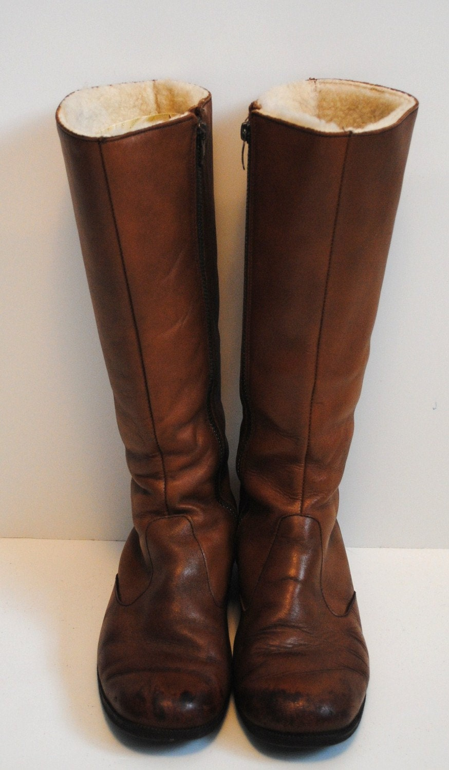 Vintage Shearling Lined Tan Campus Boots With By Miskabelle