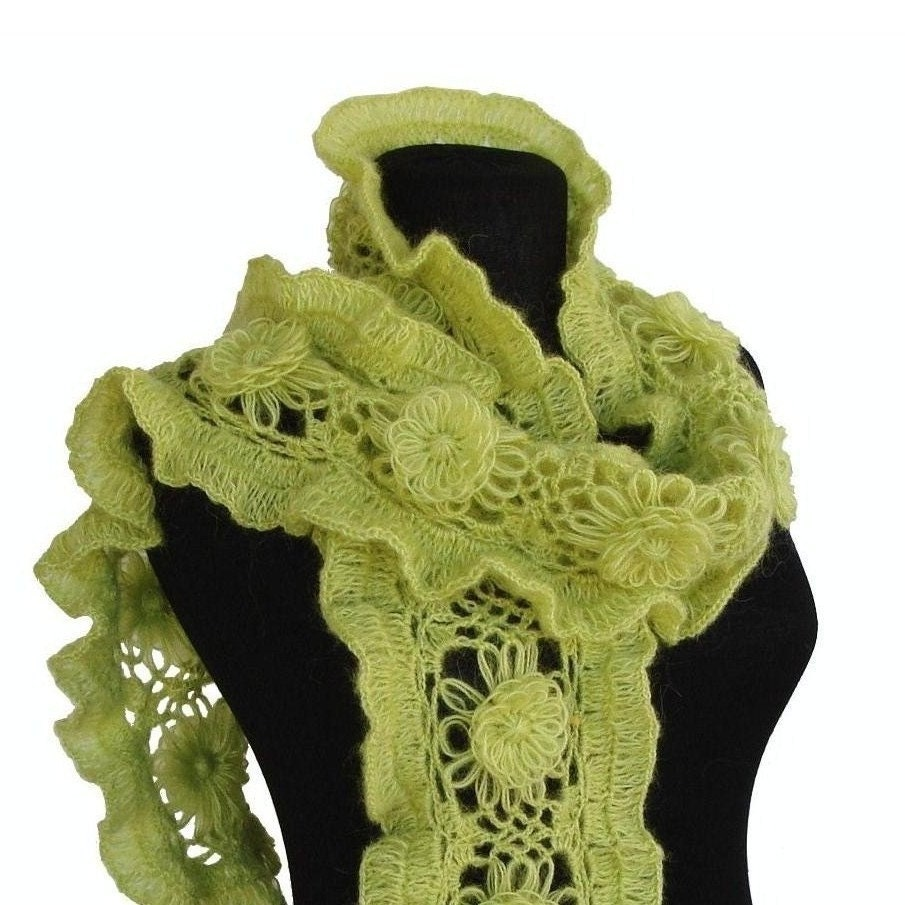 Hand-crochet vitamin frilly scarf , wrap ... READY TO SHIP ( pear , kiwi , avocado , apple ,lime, cucumber , grape , watermelon , asparagus , citruses ) Fall fashion accessories