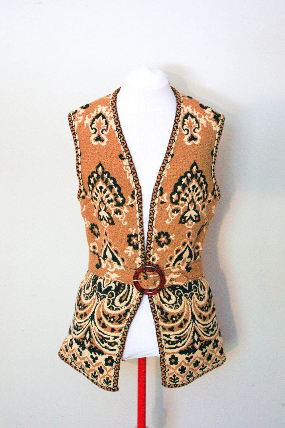 vintage 1960's goldenrod black beige wool blend tapestry vest with belt