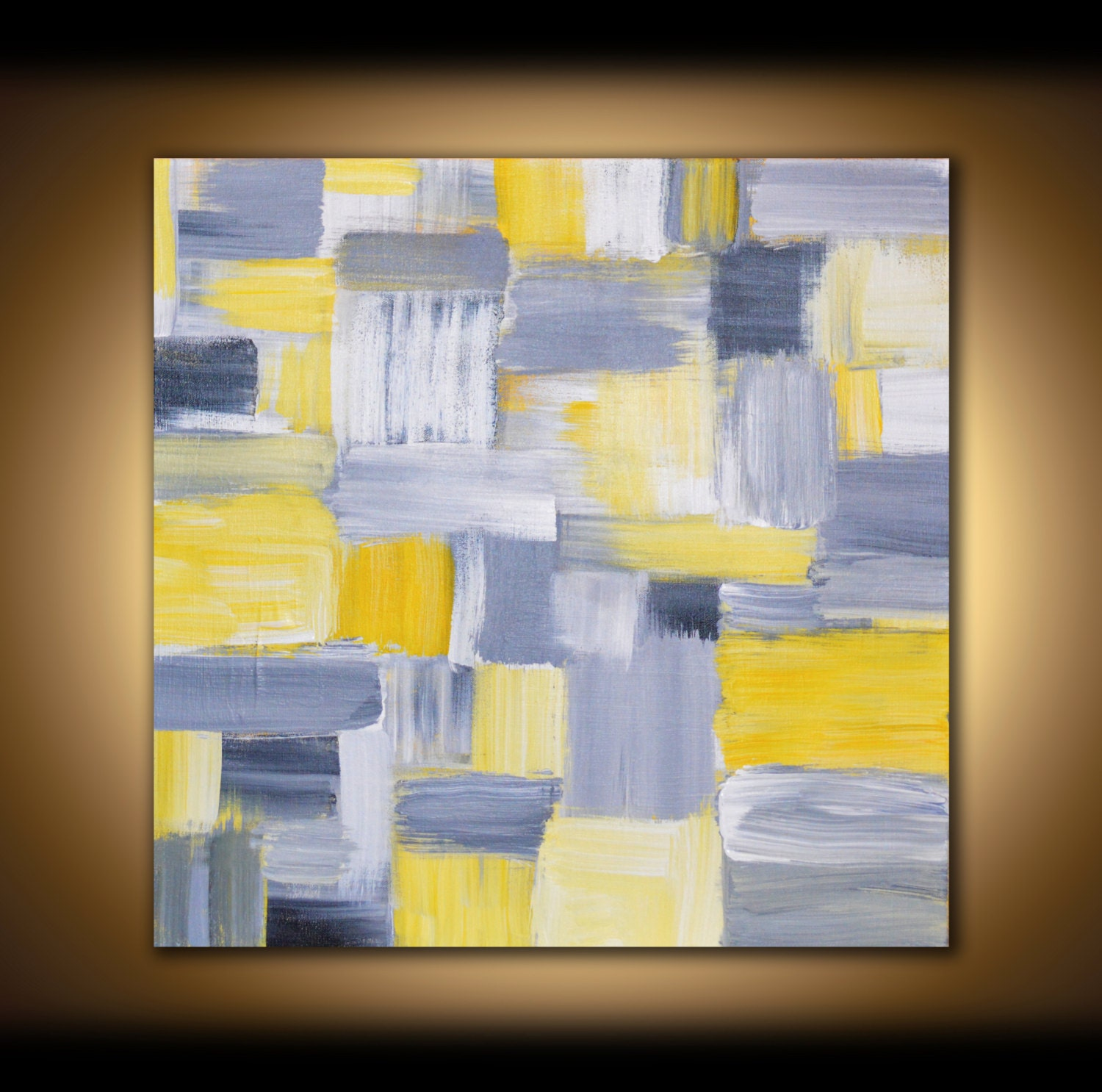Yellow Black And Gray Wall Decor : Large canvas art abstract painting wall panel