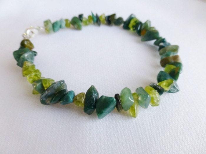 St Patrick's Day Bohemian Beauty Stone Chip Bracelet OOAK Green - DonkeyandTheUnicorn