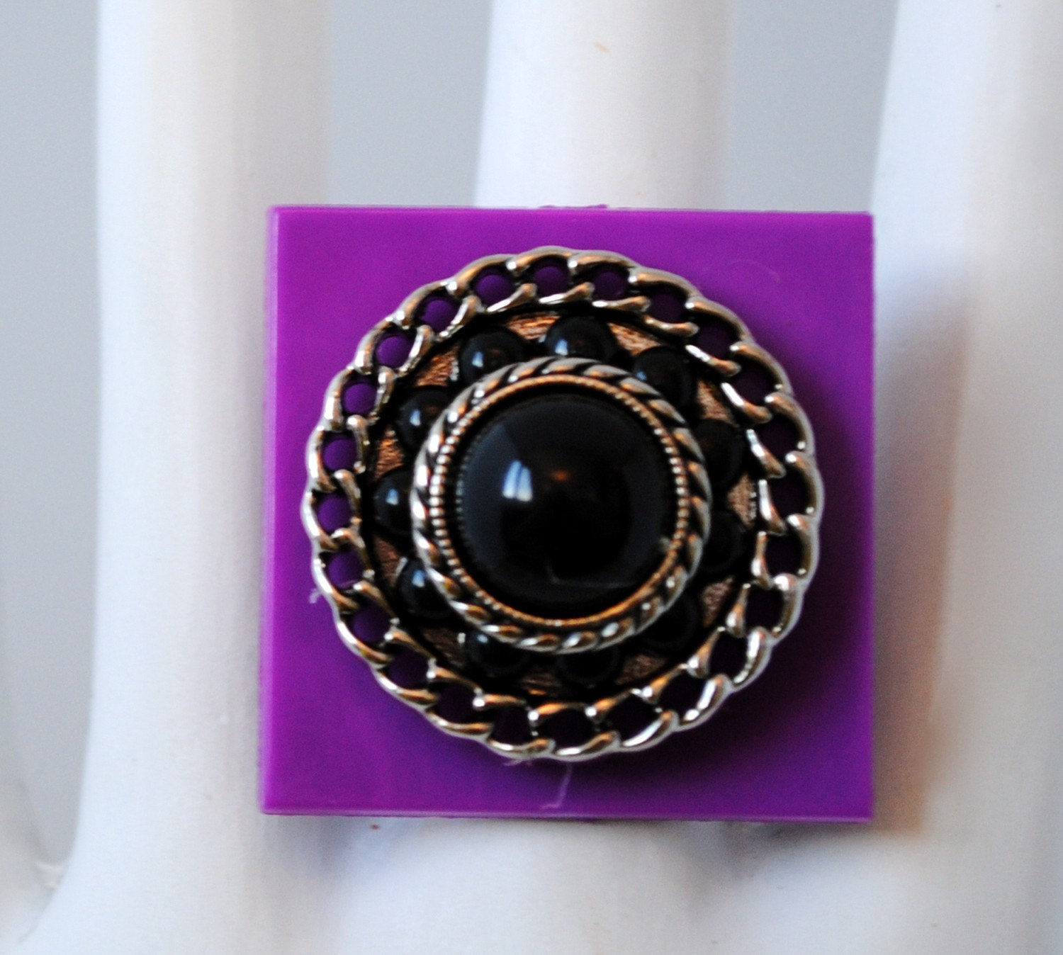 Purple button ring black silver and purple OOAK statement jewelry gift adjustable under 15 USD - victoriascharms